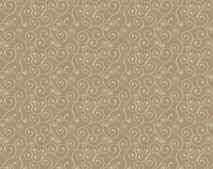 Spirals, Mushroom Brown, Cream, Fat Quarter, 1/2 Yard, Yard, 100% Cotton Fabric, Great for Quilting, Sewing & DIY Crafts