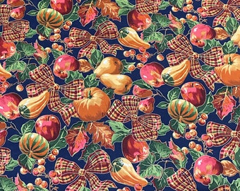 SALE - Fall Harvest, Blue, Orange, Red, Green, Single Fat Quarter, 100% Cotton Fabric, Great for Quilting, Sewing & DIY Crafts
