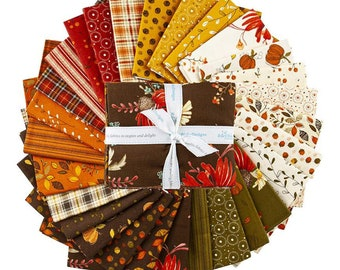 Riley Blake Adel in Autumn 28-Piece Fat Quarter Bundle by Sandy Gervais, 100% Cotton, Great for Quilting, Sewing & DIY Crafts