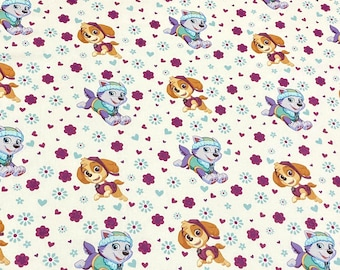 SALE - Paw Patrol, Pre-cut Yard, Purple, Teal, White, Pink, 100% Cotton, Great for Quilting, Sewing & DIY Crafts