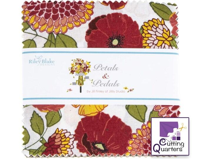 "Riley Blake Petals & Pedals 5"" Stacker by Jill Finley of Jillily Studio, 100% Cotton Fabric"