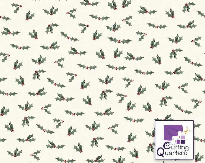 Riley Blake Farmhouse Christmas Holly Berry-Cream by Echo Park Paper Co., 100% Cotton, Great for Quilting, Sewing & DIY Crafts
