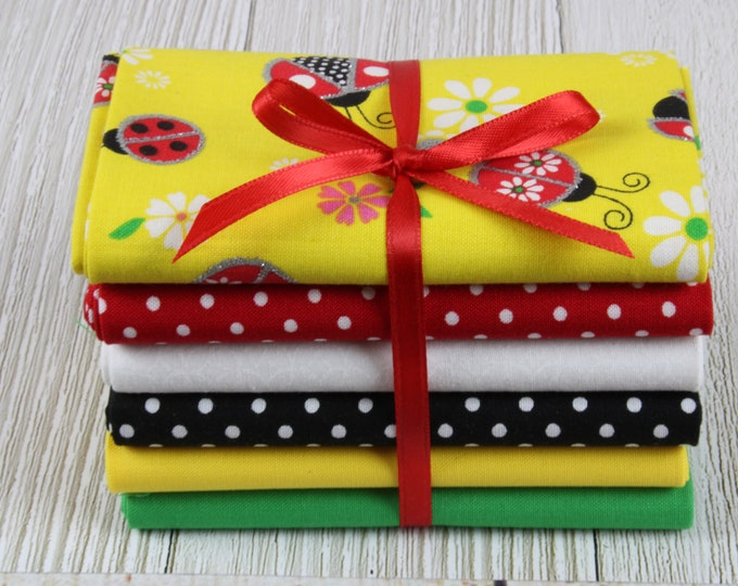 Ladybugs 6-Piece Fat Quarter Bundle, Red, Black, Yellow, Green & White, 100% Cotton Fabric, Fat Quarters, Quilting, Sewing, DIY Crafts