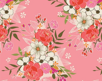 Open Heart - Flowering Heart by Art Gallery Fabrics, Pink, Floral, 100% Cotton, Great for Quilting, Sewing & DIY Crafts