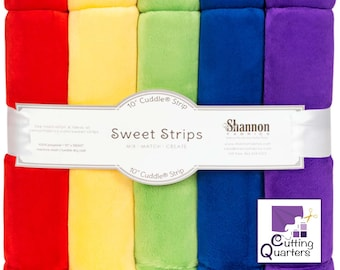 """10"""" Cuddle® Sweet Strips - Rainbow, Cuddle® Minky Fabric Precut Strips, 5 Solid Colors, Shannon Fabrics, Great for Quilting, Sewing & Crafts"""