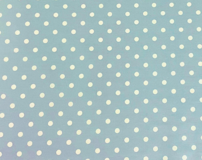 SALE - Blue-Gray Polka Dots - Large, Fat Quarter, 1/2 Yard, Yard, 100% Cotton Fabric, Great for Quilting, Sewing & DIY Crafts