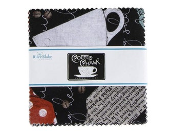 """Riley Blake Coffee Chalk Hill 5"""" Stacker by J. Wecker Frisch, 100% Cotton, Charm Pack, Great for Quilting, Sewing & DIY Crafts,"""