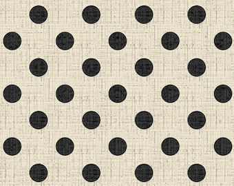 Textured Dots, Cream, Black, Fat Quarter, 1/2 Yard, Yard, 100% Cotton Fabric, Great for Quilting, Sewing & Crafts