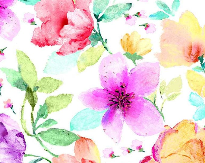 Timeless Treasures Spring Song Large Floral-White - CD8614, 100% Cotton Fabric