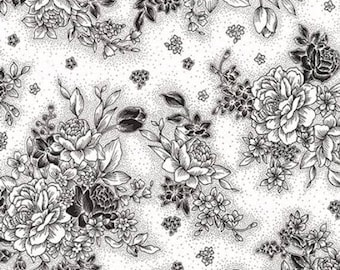 Robert Kaufman Black & White - White, Fat Quarters, 1/2 Yard, Yard, 100% Cotton Fabric, Great for Quilting, Sewing and DIY Crafts