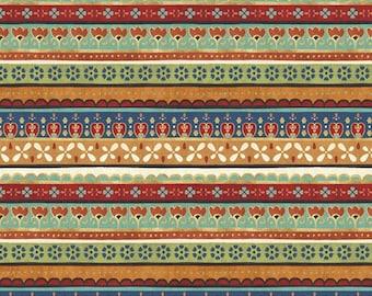 La Vida Loca Stripes, Green, Rust, Blue, Cream, Fat Quarter, 1/2 Yard, Pre-Cut Yard, 100% Cotton, Great for Quilting, Sewing & DIY Crafts