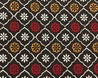 SALE - Medallions, Gold, Red, Brown, White, Single Fat Quarter, 100% Cotton Fabric, Great for Quilting, Sewing & DIY Crafts