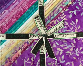 """Butterfly Blooms 10"""" Square Stack by Kathy Engle for Island Batik, 10"""" x 10"""" Squares, 42 Pieces, Hand Dyed Batik Cotton, Layer Cakes"""
