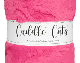 2 Yard Luxe Cuddle® Cut Hide - Carnation, Cuddle® Minky Fabric Precut, Shannon Fabrics, Great for Quilting, Sewing & Crafts