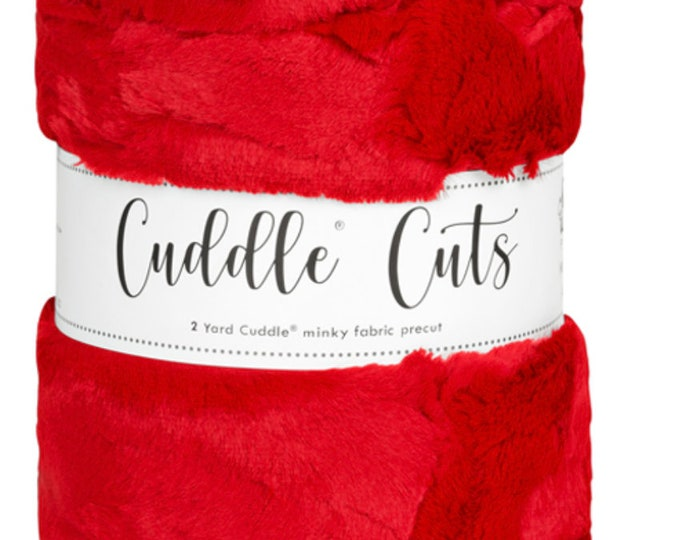 2 Yard Luxe Cuddle® Cut Hide - Cardinal, Cuddle® Minky Fabric Precut, Shannon Fabrics, Great for Quilting, Sewing & Crafts