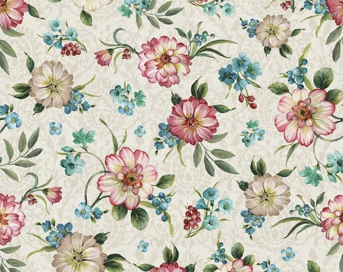 Majestic Birds - Peacock Florals Cream/Multi by Lisa Audit for David Textiles, 100% Cotton Fabric