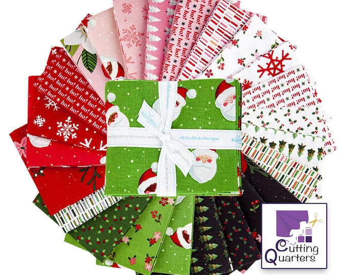 Riley Blake Holly Holiday 24-Piece Fat Quarter Bundle, 100% Cotton Fabric, 6 Yards, Great for Quilting, Sewing & DIY Crafts
