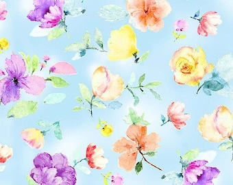 Timeless Treasures Spring Song Floral & Buds-Blue - CD8616, Fat Quarter, 1/2 Yard, Yard, 100% Cotton Fabric