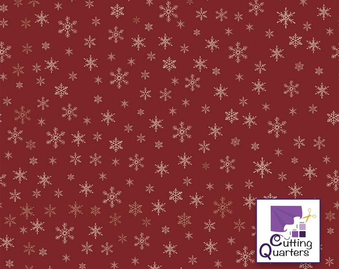 Riley Blake Farmhouse Christmas Snowflake Red by Echo Park Paper Co., 100% Cotton, Great for Quilting, Sewing & DIY Crafts