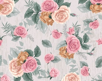 Antique Rose White/Multi, Fat Quarter, 1/2 Yard, Yard, 100% Cotton Fabric, Great for Quilting, Sewing & Crafts