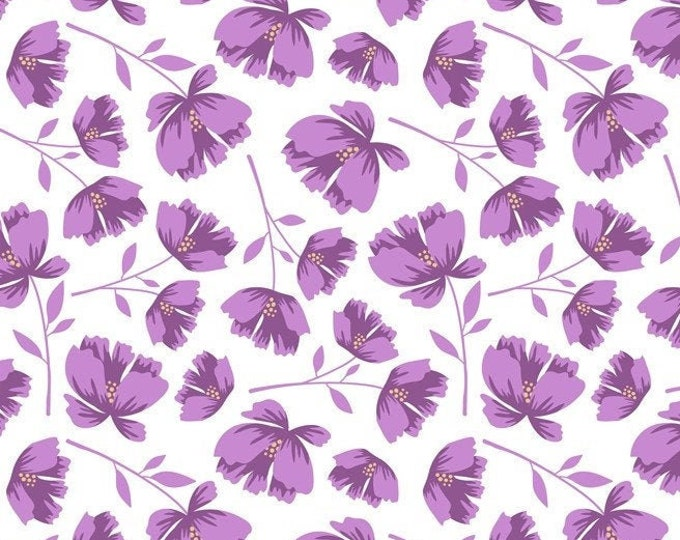 Garden Bloom Toss-White, Lavender, Fat Quarters, 1/2 Yard, Yard, 100% Cotton Fabric, Great for Quilting, Sewing & DIY Crafts