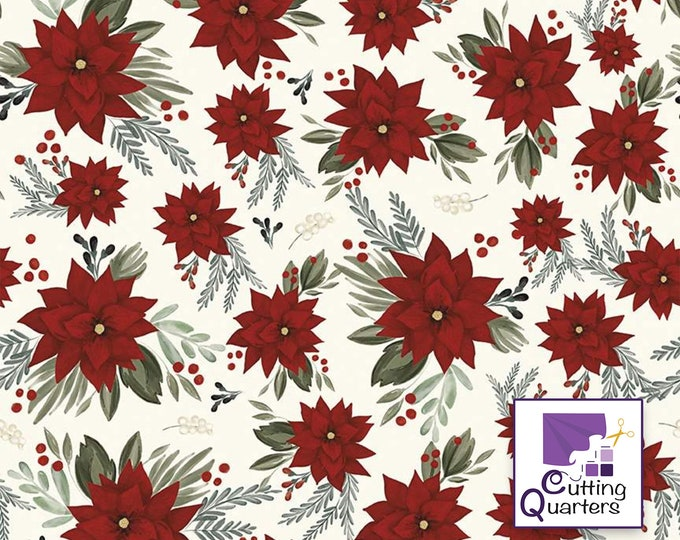 Riley Blake Farmhouse Christmas Main-White by Echo Park Paper Co., 100% Cotton, Great for Quilting, Sewing & DIY Crafts