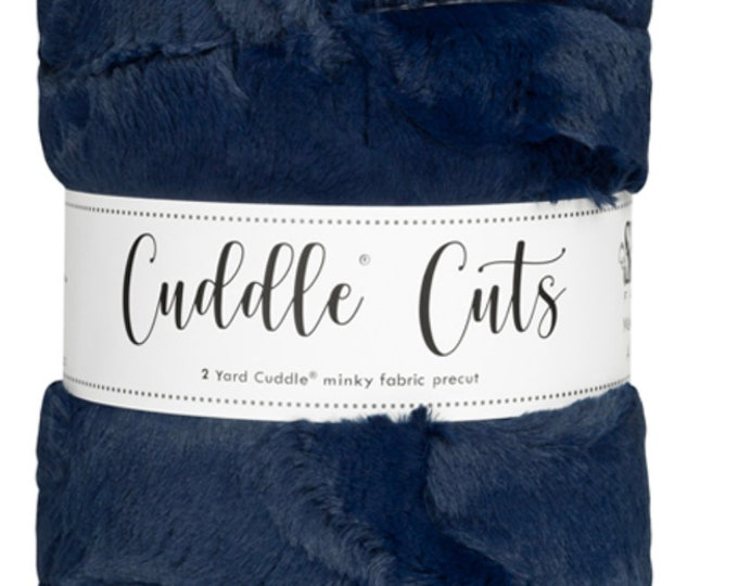 2 Yard Luxe Cuddle® Cut Hide - Navy, Cuddle® Minky Fabric Precut, Shannon Fabrics, Great for Quilting, Sewing & Crafts