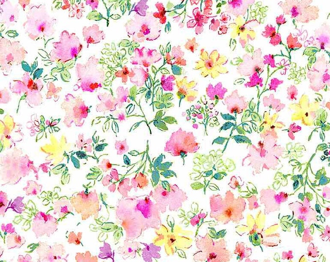 Timeless Treasures Spring Song Floral-White - CD8615, Fat Quarter, 1/2 Yard, Yard, 100% Cotton Fabric