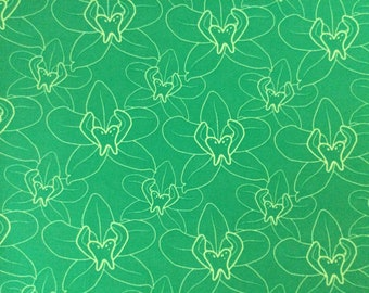 SALE - Lily-Green, Single Fat Quarter, 100% Cotton Fabric, Great for Quilting, Sewing & DIY Crafts