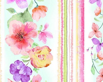 """Timeless Treasures Spring Song Floral with 11"""" Stripe - CD8613, Fat Quarter, 1/2 Yard, Yard, 100% Cotton Fabric"""