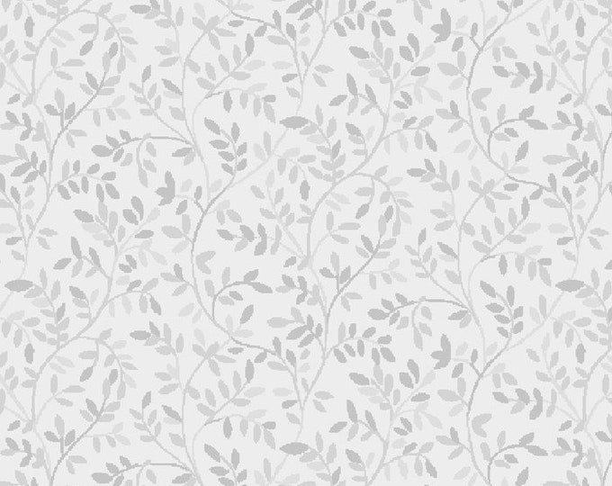 Italian Leaves-Silver, Gray, Fat Quarter, 1/2 Yard, Yard, 100% Cotton Fabric, Great for Quilting, Sewing & Crafts
