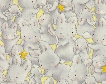 SALE - Bunny Love, Gray, Yellow, Single Fat Quarter, 100% Cotton Fabric, Great for Quilting, Sewing & DIY Crafts