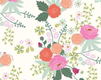 Riley Blake New Dawn Main - Cream by Citrus & Mint Designs, 100% Cotton