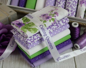 Blooming Orchid 7-Piece Fat Quarter Bundle, Green, White, Purple, Floral, Polka-Dot, 100% Cotton, Quilting, Sewing & DIY Crafts