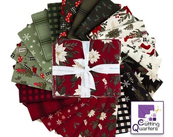 Riley Blake Farmhouse Christmas 21-Piece Fat Quarter Bundle, 100% Cotton, 5.25 Yards, Great for Quilting, Sewing & DIY Crafts