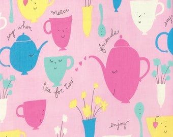 SALE - Pink Teacups, White, Blue, Yellow, Single Fat Quarter, 100% Cotton Fabric, Great for Quilting, Sewing & DIY Crafts