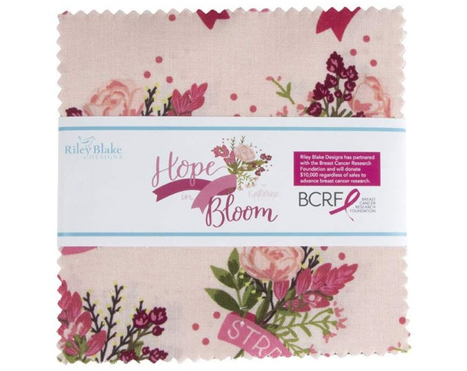 """Riley Blake Hope in Bloom 5"""" Stacker by Katherine Lenius, 100% Cotton, Great for Quilting, Sewing & DIY Crafts"""