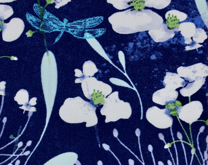 SALE - Dragonfly - Blue and White, Single Fat Quarter, 100% Cotton Fabric, Great for Quilting, Sewing & DIY Crafts