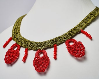 Handmade Crochet Red & Green Beaded Necklace, Flower Necklace, Great Gift, Perfect Accessory
