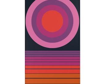 Vintage 60s 70s Funky Psychedelic Geometric Pink Purple cotton Curtain Drape Panel Retro Mid Century