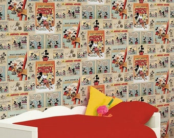 Mickey Mouse Vintage Wallpaper Retro Funky Home Decor Sold Per Full Roll Only - 20.47in x 33ft