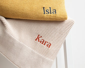 Personalised Baby Blanket - Embroidered Name -Stroller Bassinet Blanket - Newborn Baby Gift - Expecting mum - Soft Breathable Cotton Knit