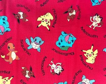 Pikachu Fabric on Red - Cotton Fabric - Super Hero Fabric - Quilting Fabric - 100% Cotton Fabric - Fat Quarter - TV Character Fabric