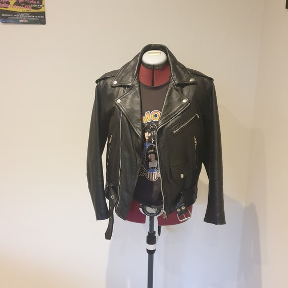 90s Black leather Jacket