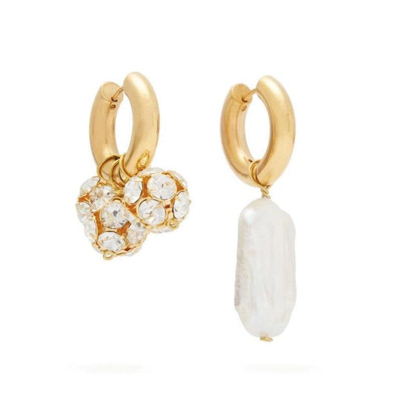 Rhinestone pearl huggies hoop earrings birthday gift idea mix and match asymmetrical