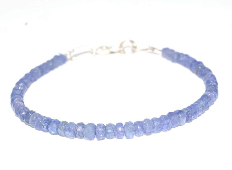 Beautiful Genuine Tanzanite 3-4mm Dainty Beaded Bracelet jewellery 7