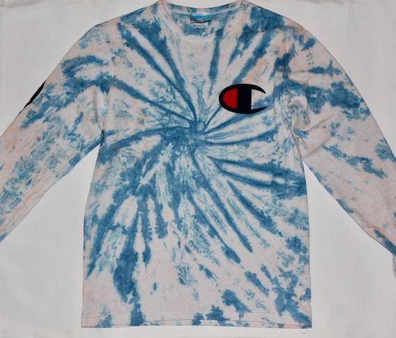 Tie Dye Champion Champion Champion Shirt Custom Bleached Champion Tie Dye T Shirt Champion T-Shirt FREE SHIPPING Custom Tie Dye