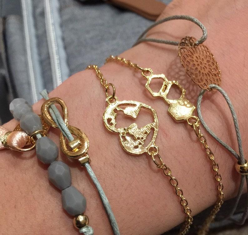 Women\u2019s friendship bracelet blue braided rope beaded bracelets with golden chains ref:a42