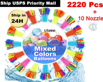 2220 pcs (60 Bunches) Instant Water Balloons Self Sealing and Already Tied Balloons Fast Filling Pool Party with water nozzle