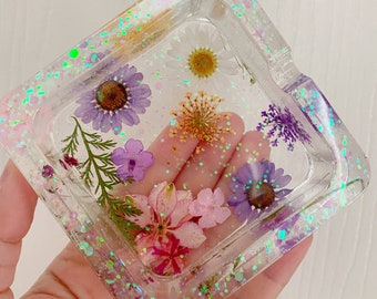 Clear resin ashtray | pressed dried flowers and chunky glitter